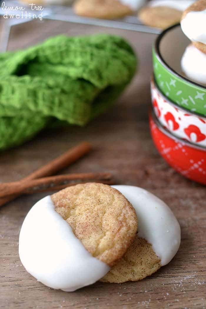 White Chocolate Dipped Snickerdoodles - a delicious twist on one of my favorite Christmas cookies!