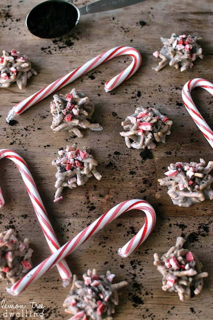 White Chocolate Peppermint Mocha Haystacks - just 4 delicious ingredients!