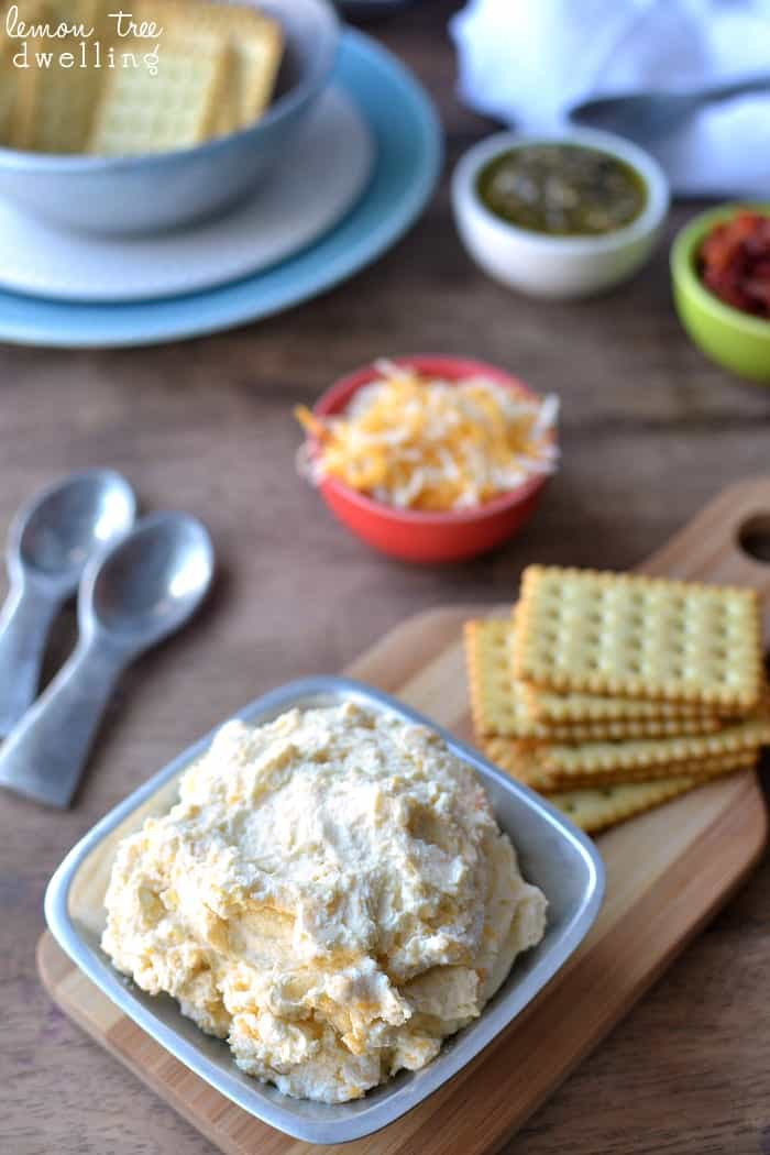 3-Ingredient  Cheese Spreads for a grown up cheese and crackers!