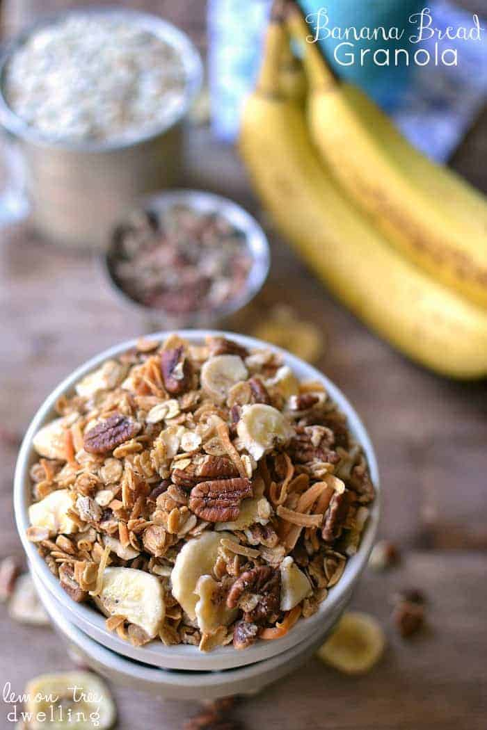 Banana Maple Yogurt Parfait made with Banana Bread Granola