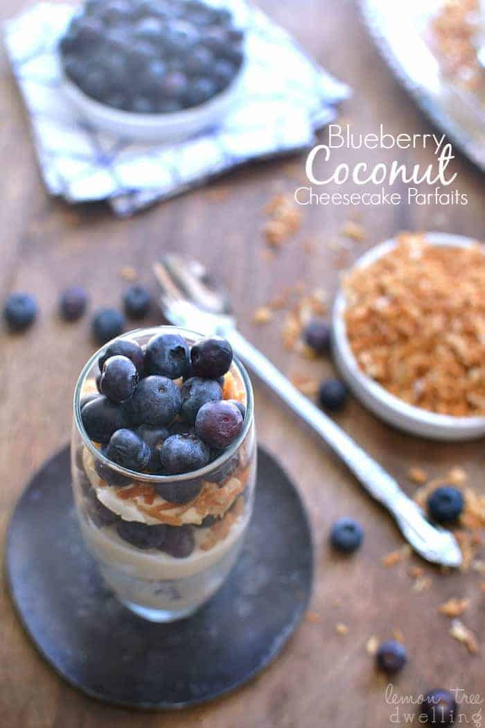 Blueberry Coconut Cheesecake Parfaits are an amazing no-bake treat that also serves as a quick breakfast or a light snack.