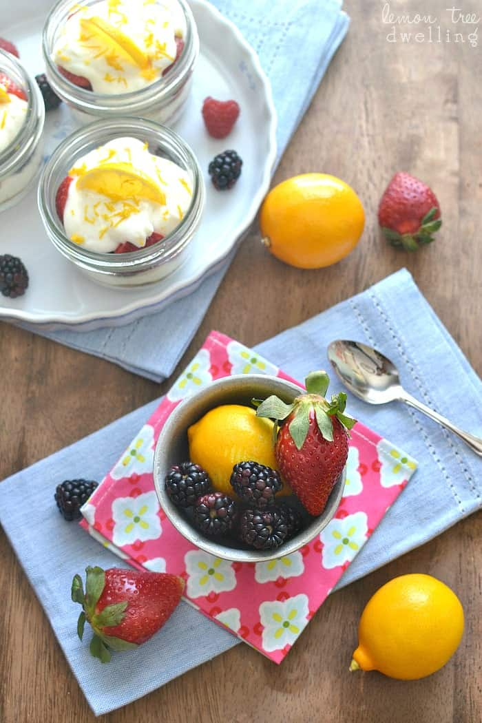 Lemon Berry Cheesecake Parfaits are a quick and easy cheesecake dessert. This no-bake treat doubles as an easy breakfast on the go. The perfect spring dessert!