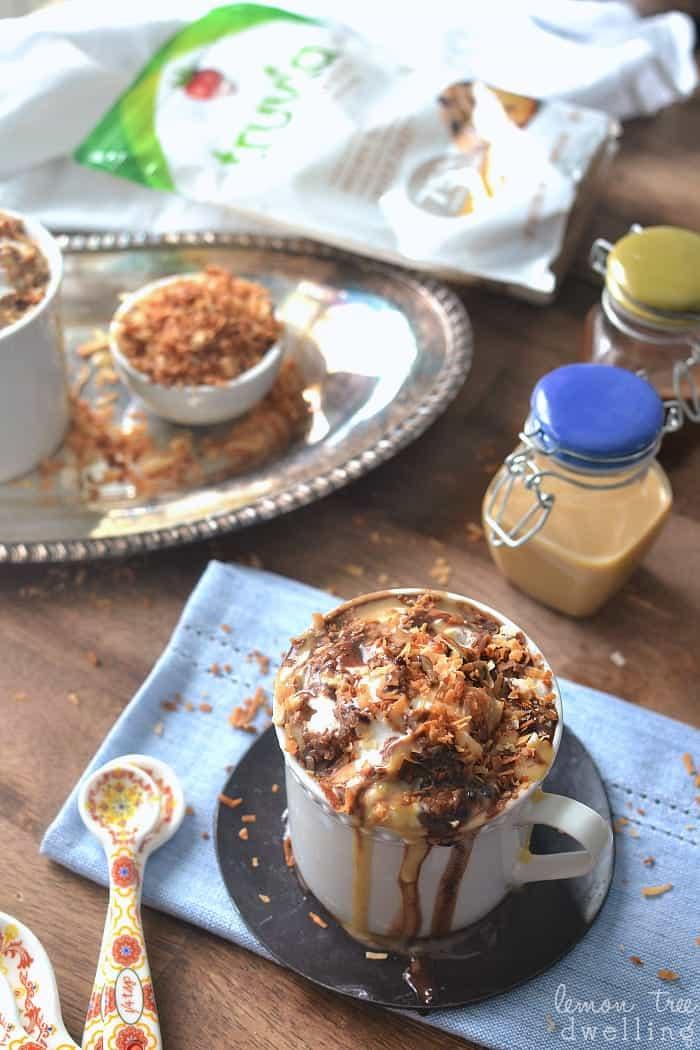 Skinny Samoa Hot Chocolate made with Truvia! This looks SO good! #ad #truvia #sweetwarmup