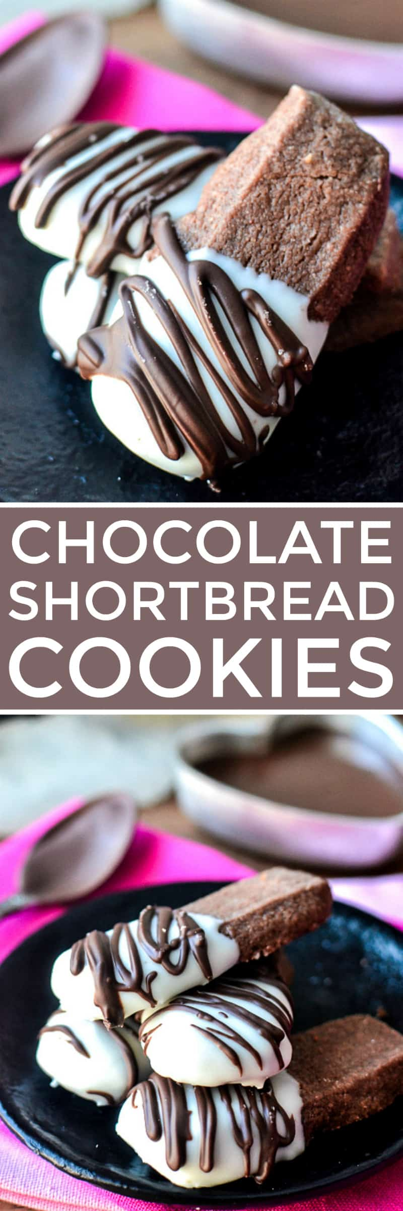 Collage image of Chocolate Shortbread Cookies
