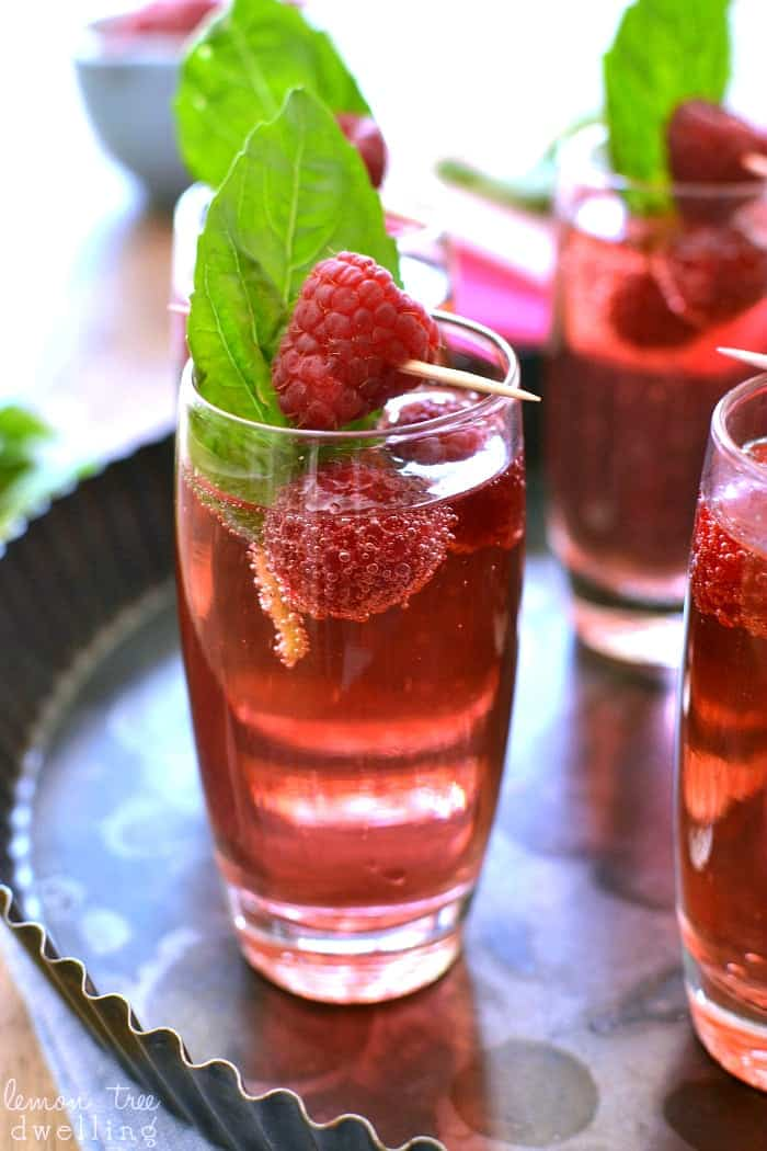 Raspberry Basil Champagne Spritzer - perfect for Mother's Day or any special occasion!