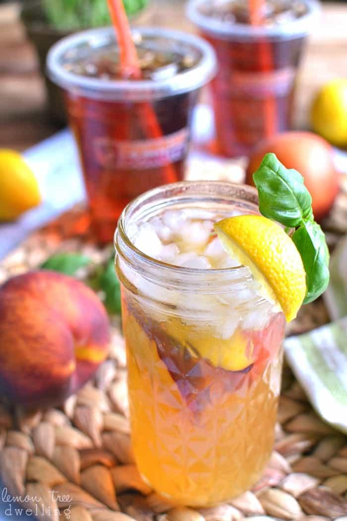 Basil Peach Iced Tea Lemonade. I'm in love with this flavor combo! #ddicedtea #ad