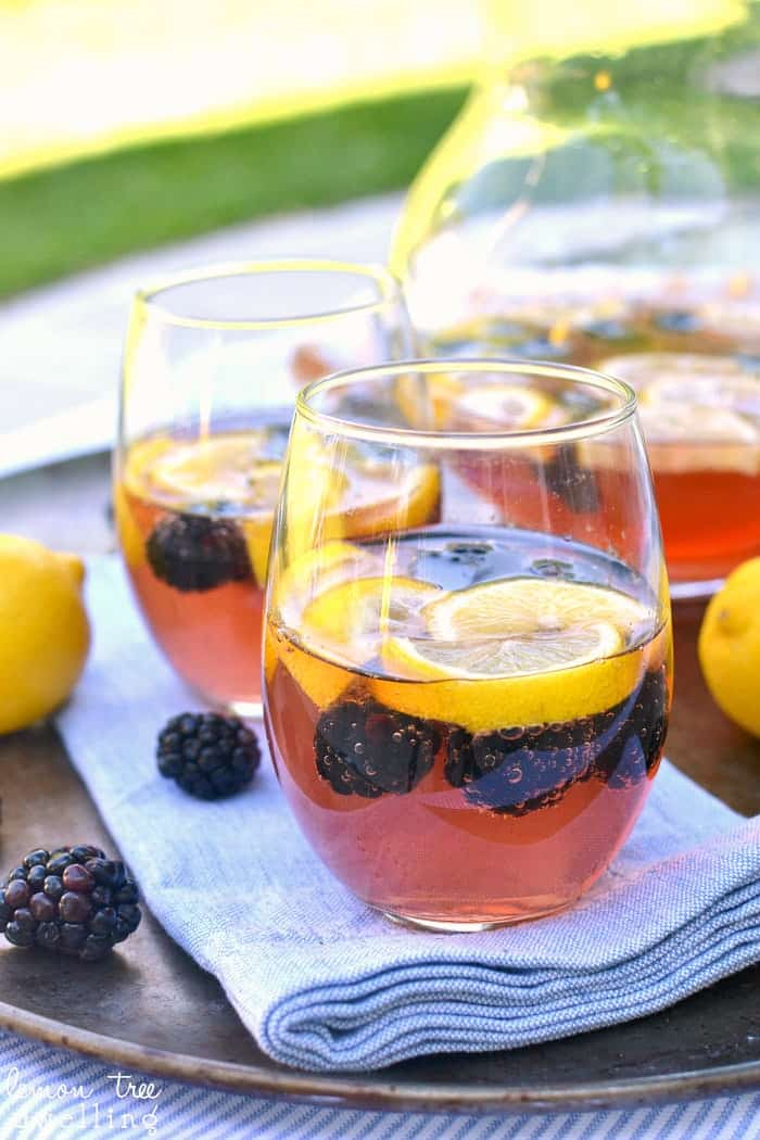 Lemon Blackberry Sangria - made with just 3 ingredients and perfect for summer!