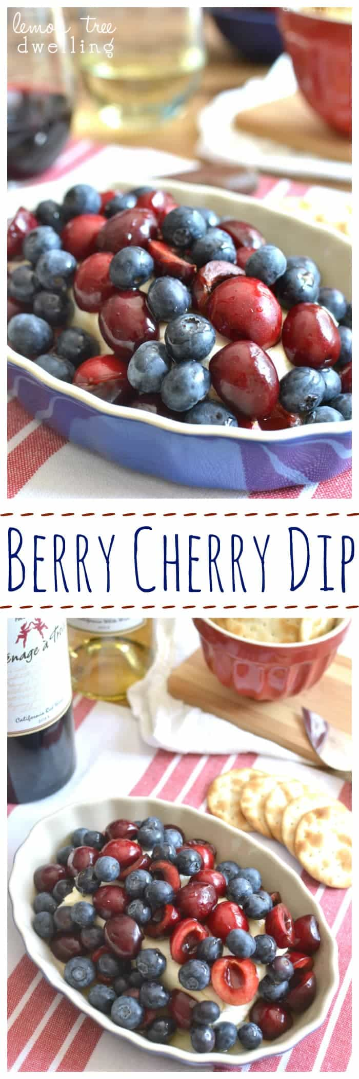 This easy 4-ingredient Berry Cherry Dip pairs perfectly with Menage a Trois wines for all your 4th of July celebrations! #menageatrois #ad