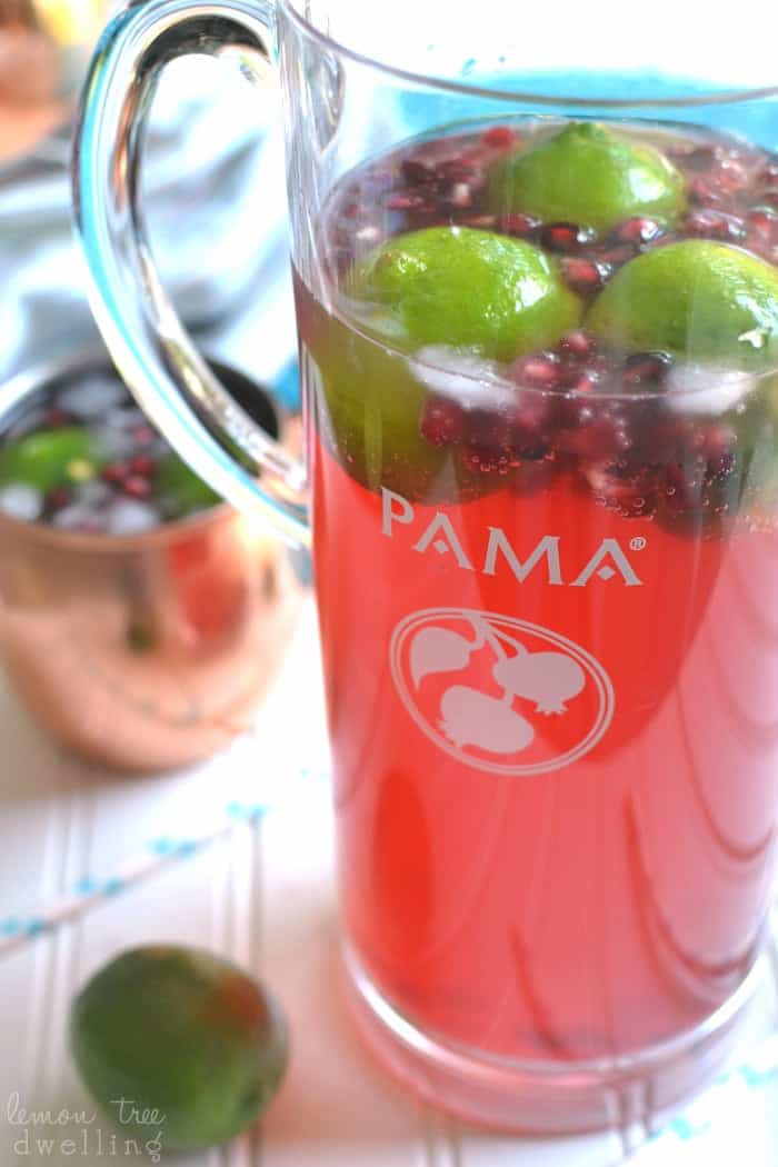 Pomegranate Moscow Mules - a refreshing twist on traditional Moscow Mules made with PAMA Pomegranate Liqueur! #sponsored #PAMACelebrateSummer @PAMALiqueur
