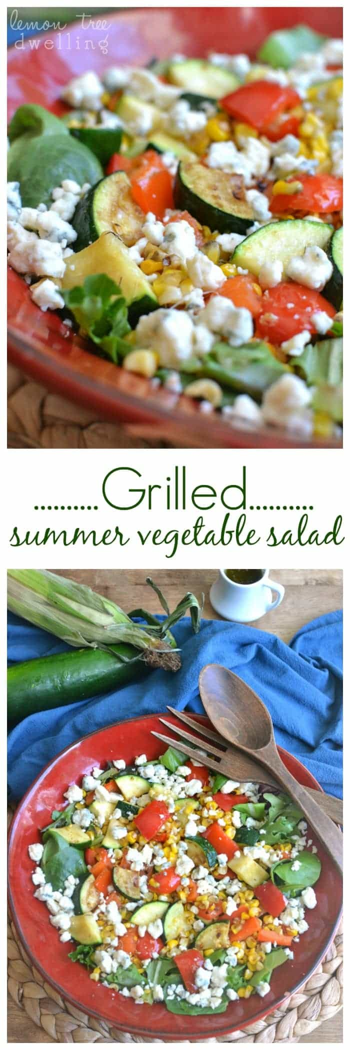 Grilled summer vegetables tossed with mixed greens, blue cheese, and a 4-ingredient pesto vinaigrette. A perfectly simple and delicious summer salad!