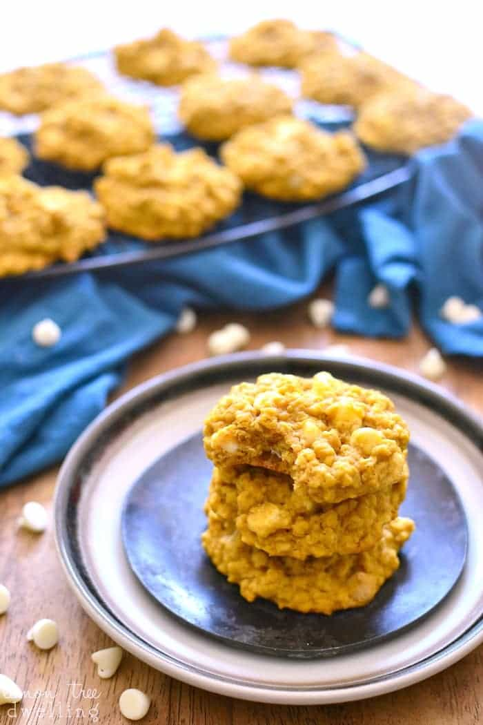 Pumpkin Oatmeal Cookies 3eThese Pumpkin Oatmeal White Chocolate Chip Cookies are perfectly chewy and packed with pumpkin flavor. They're so good, you can't eat just one!