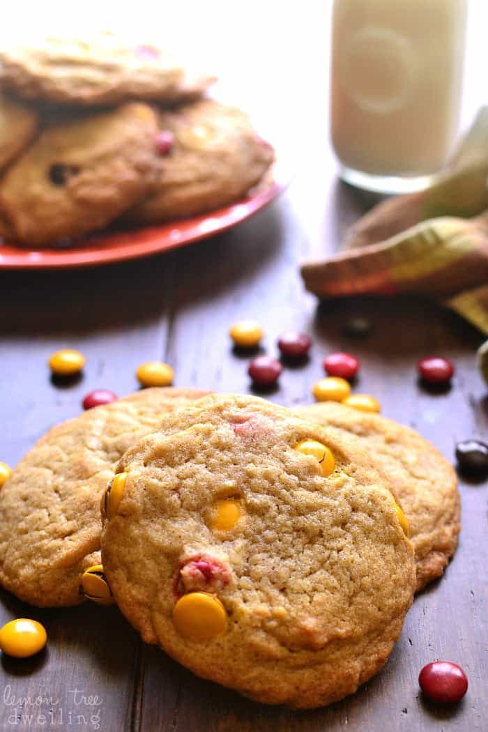 Pumpkin Spice M&M Cookies. Yum!!