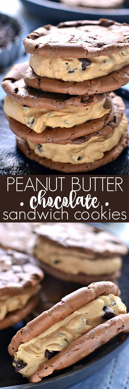 Peanut Butter Chocolate Sandwich Cookiescombine chewy chocolate cookies and creamy peanut butter filling. This is the best peanut butter cookies recipe!