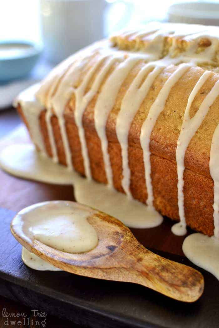 This Glazed Eggnog Bread is packed with the sweet eggnog flavors you love....in a delicious bread that's perfect for the holidays! Best of all, it's made with Silk Soy Nog for a dairy-free breakfast treat that everyone can enjoy!