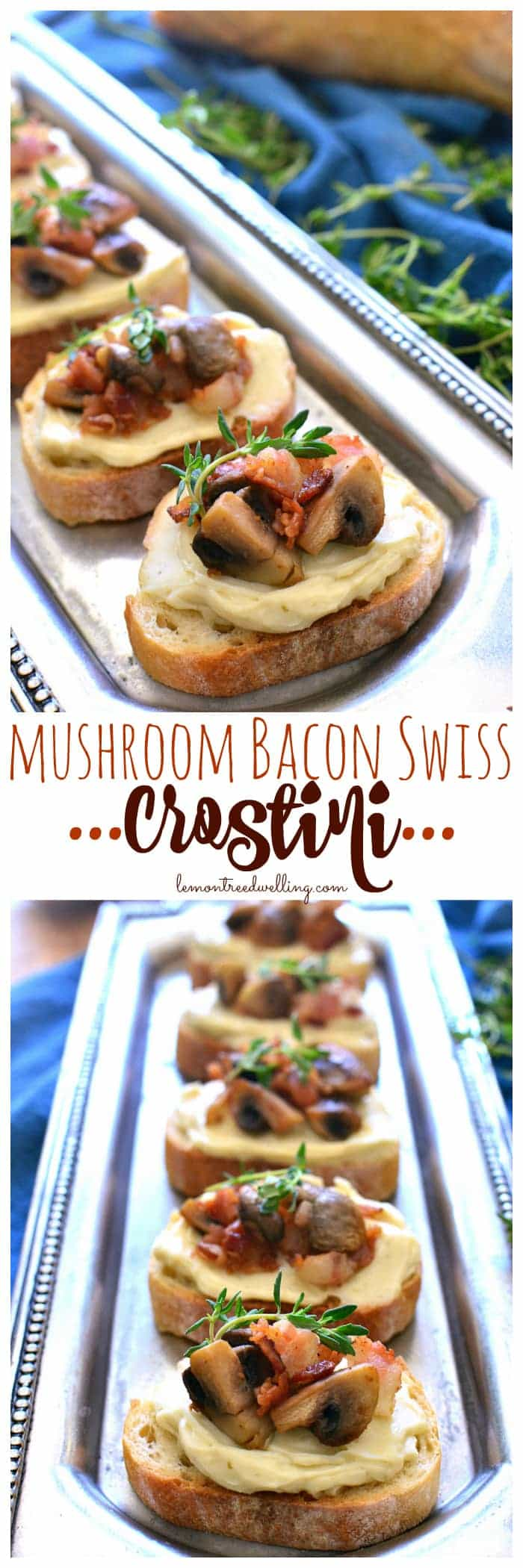 This Mushroom Bacon Swiss Crostini is packed with delicious flavor and so simple to make! The perfect holiday appetizer - it's sure to please a crowd!