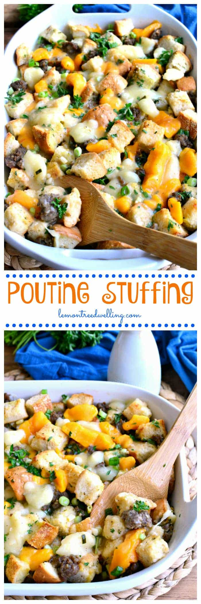 This Poutine Stuffing is packed full of pork sausage and cheese curds and topped with a delicious poutine gravy. It's such a fun twist on a classic - perfect for Thanksgiving!