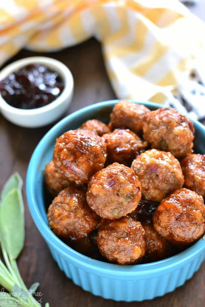 These Turkey Cocktail Meatballs are packed with the delicious flavors of black cherry, sage, and dijon mustard. They can be made ahead and kept warm in a slow cooker - the perfect appetizer for all your holiday celebrations!