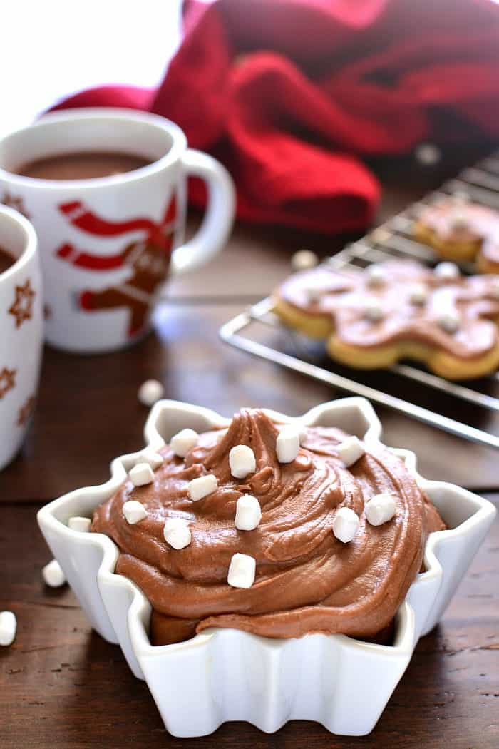 Hot Chocolate Buttercream Frosting is the perfect addition to your favorite holiday treats. This frosting whips up in 5 minutes or less. Use it on everything from cookies to cupcakes or grab a spoon and dig right in!