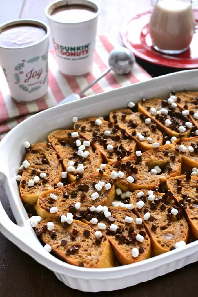 Overnight Hot Chocolate Baked French Toast is loaded with hot chocolate and drizzled with a hot chocolate glaze, this decadent breakfast that's worthy of a celebration!
