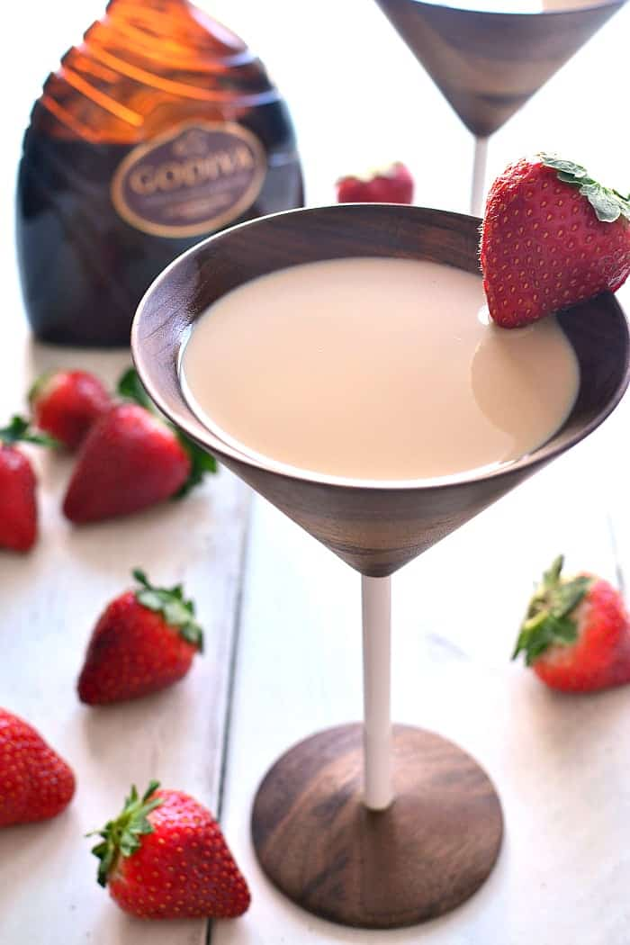 The BEST Chocolate Strawberry Martini, made with just three delicious ingredients and perfect for a celebration!