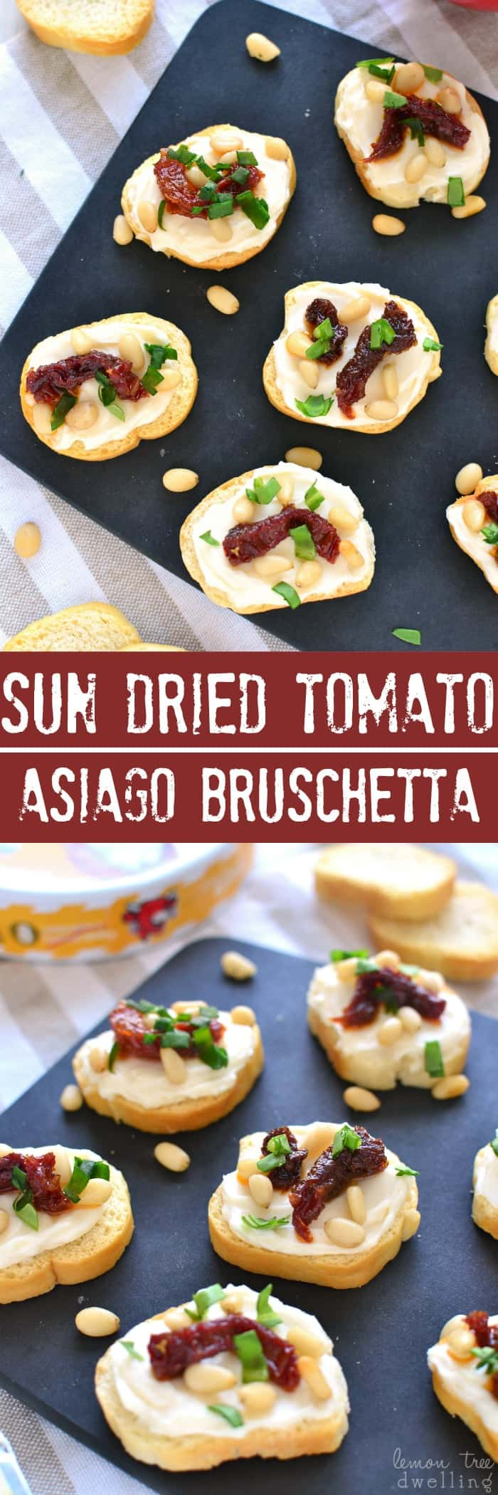Sun Dried Tomato Asiago Bruschetta is made with just 5 simple ingredients and packed with delicious flavor! Perfect for snacking, sharing, or serving at your next party!