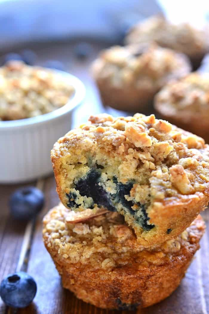 These Blueberry Granola Muffins are packed with sweet blueberries and vanilla almond granola, then topped with granola streusel for a crunchy finish. Sure to become a family favorite!