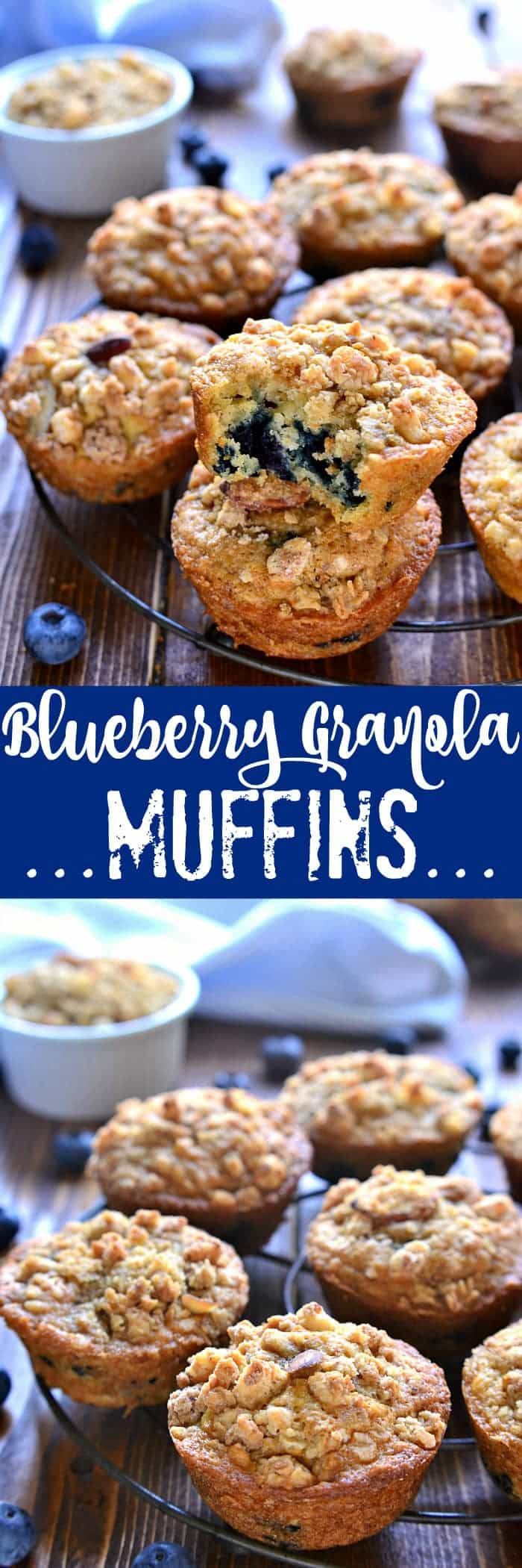 These Blueberry Granola Muffins are a quick breakfast packed full of sweet blueberries, vanilla almond granola then topped with granola streusel for a crunchy finish.