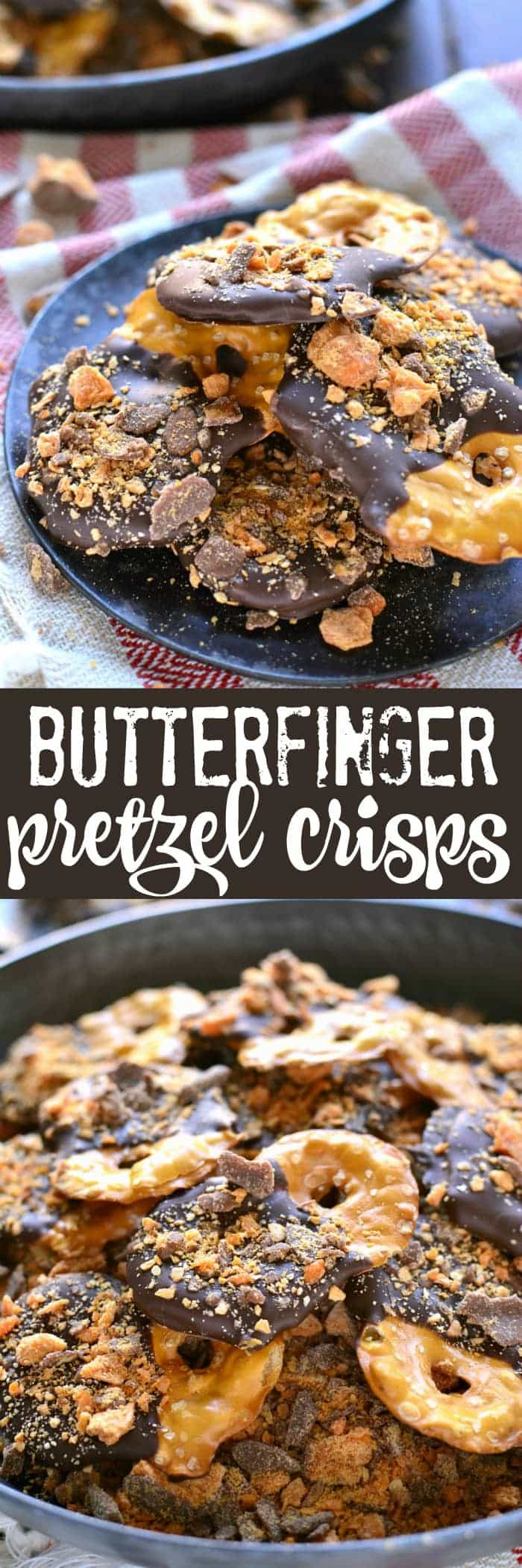 These Butterfinger Pretzel Crisps combine salty pretzel crisps with milk chocolate, a hint of rum extract, and BUTTERFINGERS! You better believe these will become your new favorite snack!
