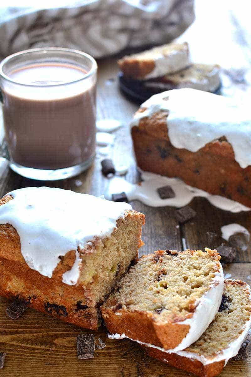 This Hot Chocolate Banana Bread takes your favorite breakfast treat to the next level! It's infused with rich chocolate flavor and topped with a sweet, gooey marshmallow drizzle. So you can drink your hot chocolate...and eat it, too!