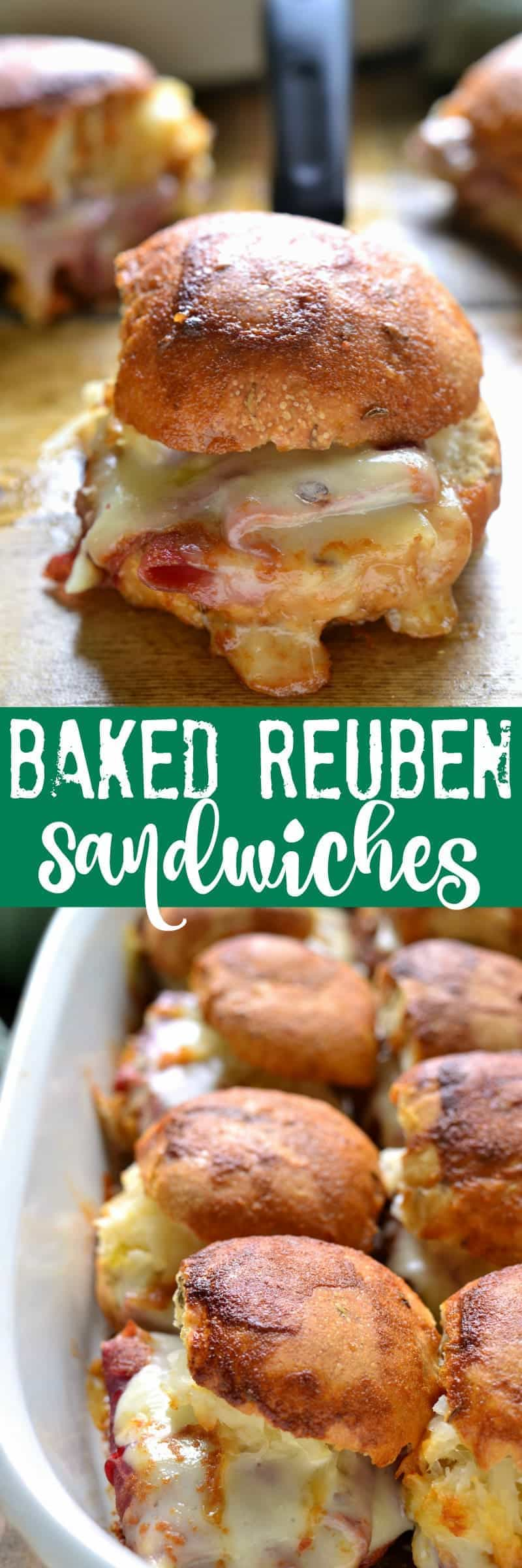 These Baked Reuben Sandwiches combine all the flavors of a classic Reuben with a delicious sauce that's baked right in! Perfect for St. Patrick's Day or all year round, and great for feeding a crowd!