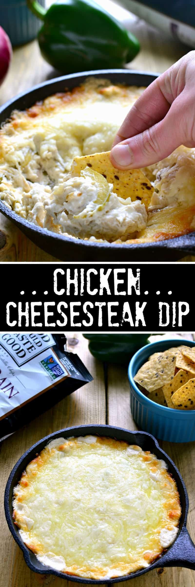 Chicken Cheesesteak Dip is ooey, gooey, and loaded with all the flavors of Chicken Cheesesteaks! Perfect for game day or summer entertaining, this dip is sure to become a new favorite!