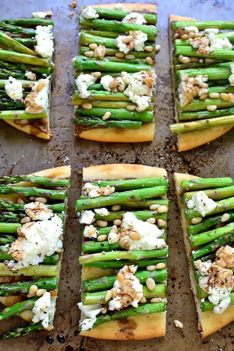slices of Asparagus Goat Cheese Flatbread appetizer
