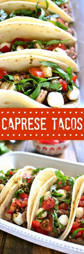 titled photo collage - Caprese Tacos (Italian Tacos)