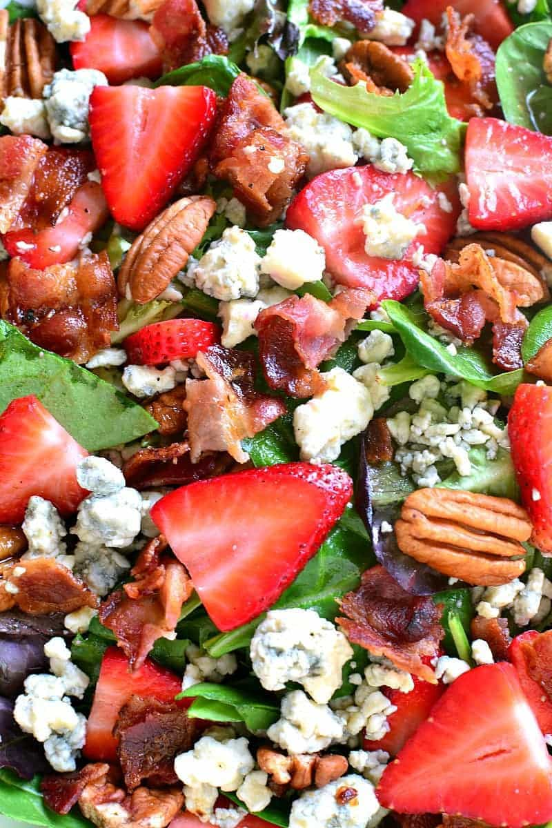 Strawberry Bacon Blue Cheese Salad ingredients