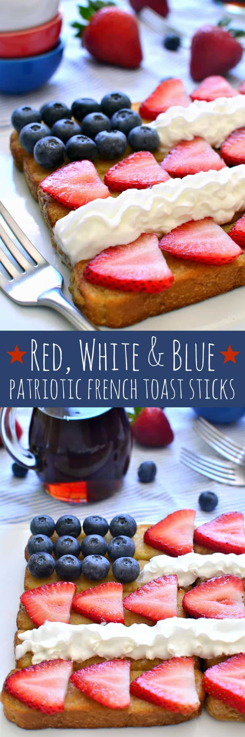 These Red, White & Blue Patriotic French Toast Sticks are fun, easy, and delicious....and so perfect for the 4th of July!