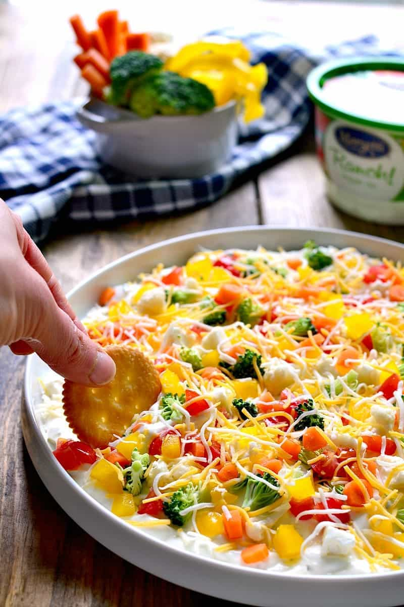 Veggie Pizza Dip has all the flavors of the veggie pizza you love....without the crust! Perfect for dipping vegetables, crackers, pretzels, or bread, this dip is quick, easy, and delicious!