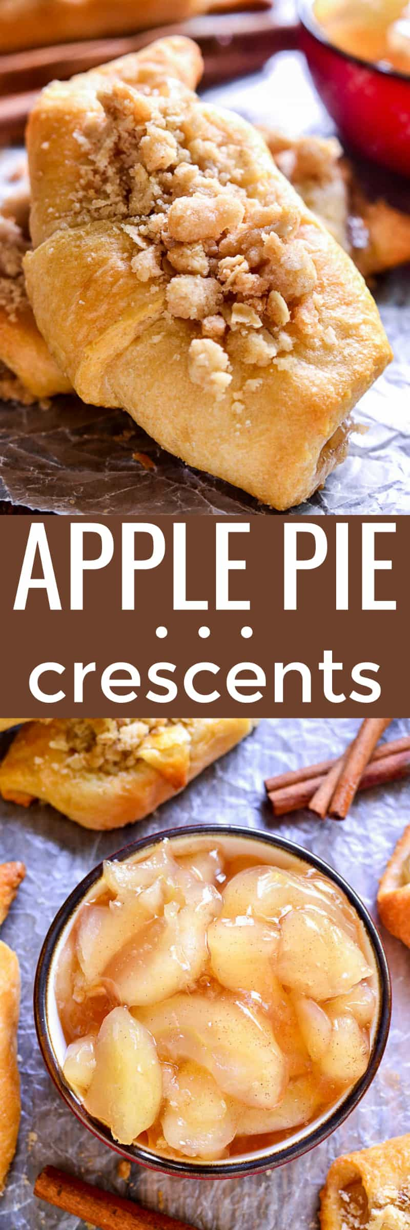 Collage image of Apple Pie Crescent Rolls