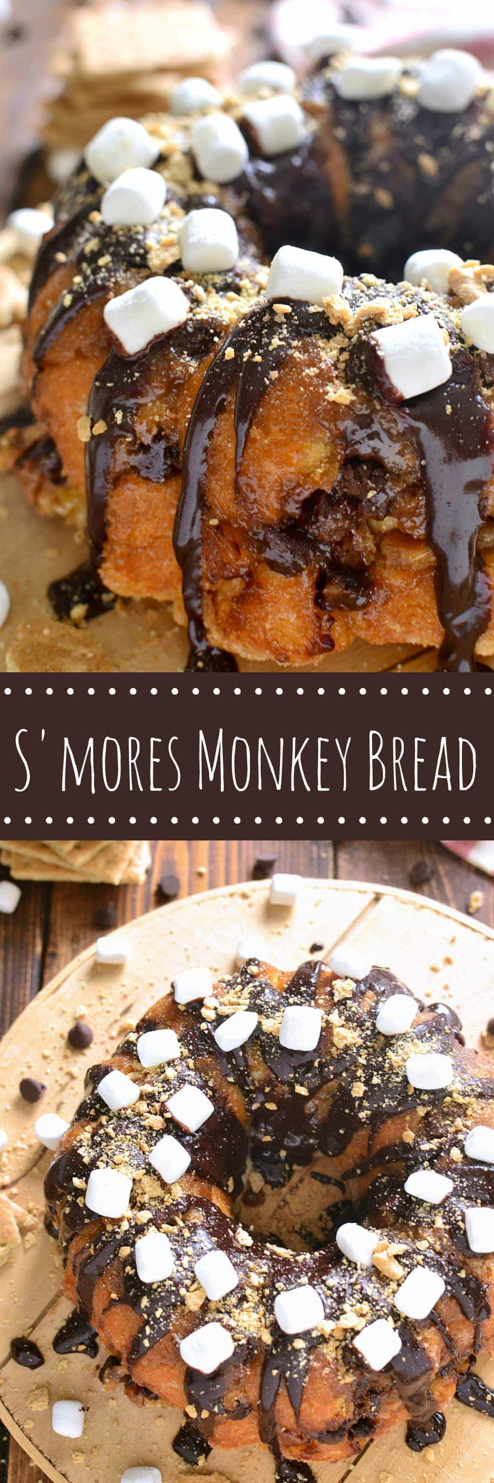 S'mores Monkey Bread is loaded with chocolate, marshmallows, and graham cracker crumbs....and seriously addictive! Grab a piece quickly because this is one treat that won't last long!