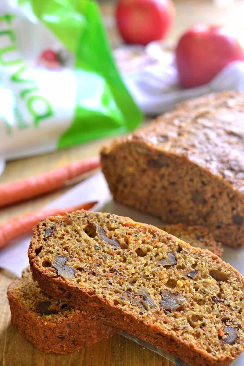 This Carrot Apple Bread is packed with flavor and perfect for fall! Loaded with fresh apples, carrots, walnuts, flax, and chia seeds, it's hearty, healthy, and so delicious!