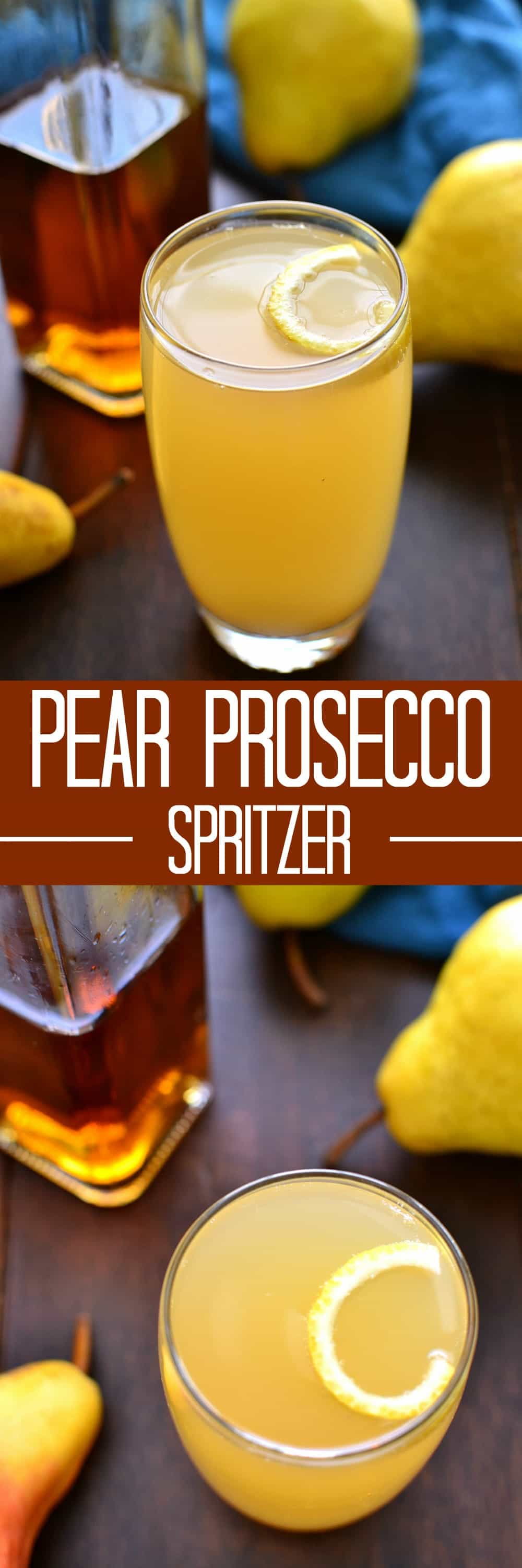 This Pear Prosecco Spritzer is deliciously sweet, simple, and perfect for fall!