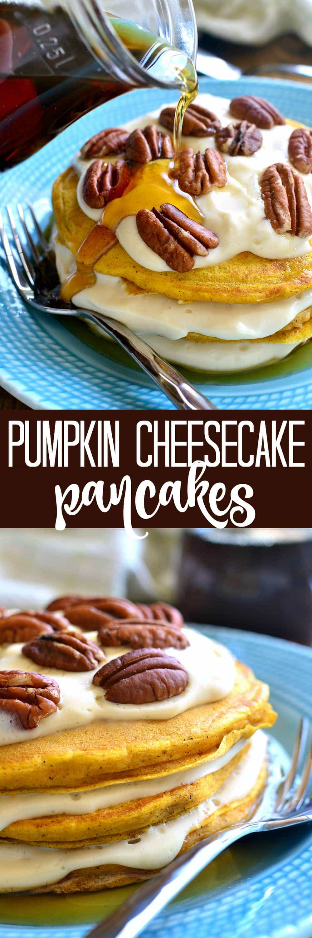These Pumpkin Cheesecake Pancakes are sure to become your new favorite breakfast treat! Made with real pumpkin and layered with an easy no-bake maple cheesecake filling, they're sweet, flavorful, and perfect for fall!