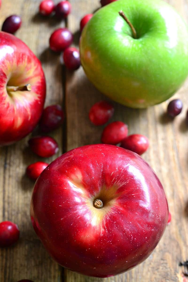 Fresh apples and cranberries