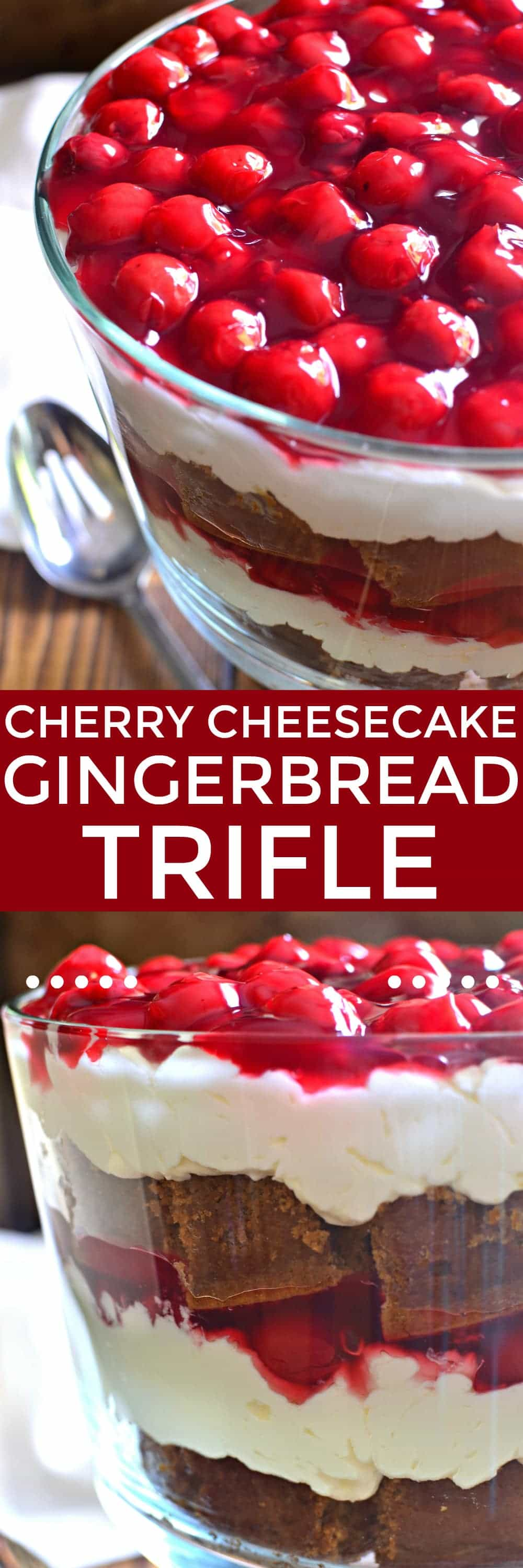 Cherry Cheesecake Gingerbread Trifle is the perfect dessert for the holidays! It's easy to make, delicious to enjoy, and guaranteed to impress all your holiday guests!