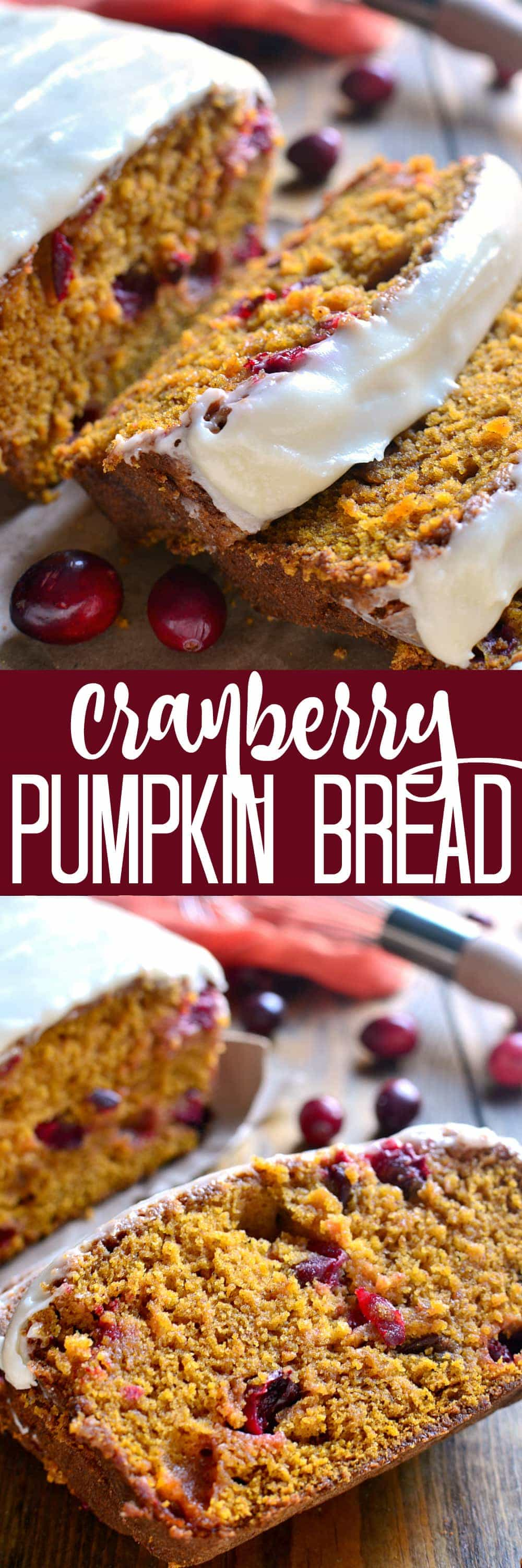 Cranberry Pumpkin Bread - the BEST pumpkin bread recipe, made better with the addition of fresh cranberries and sweet cream cheese icing!