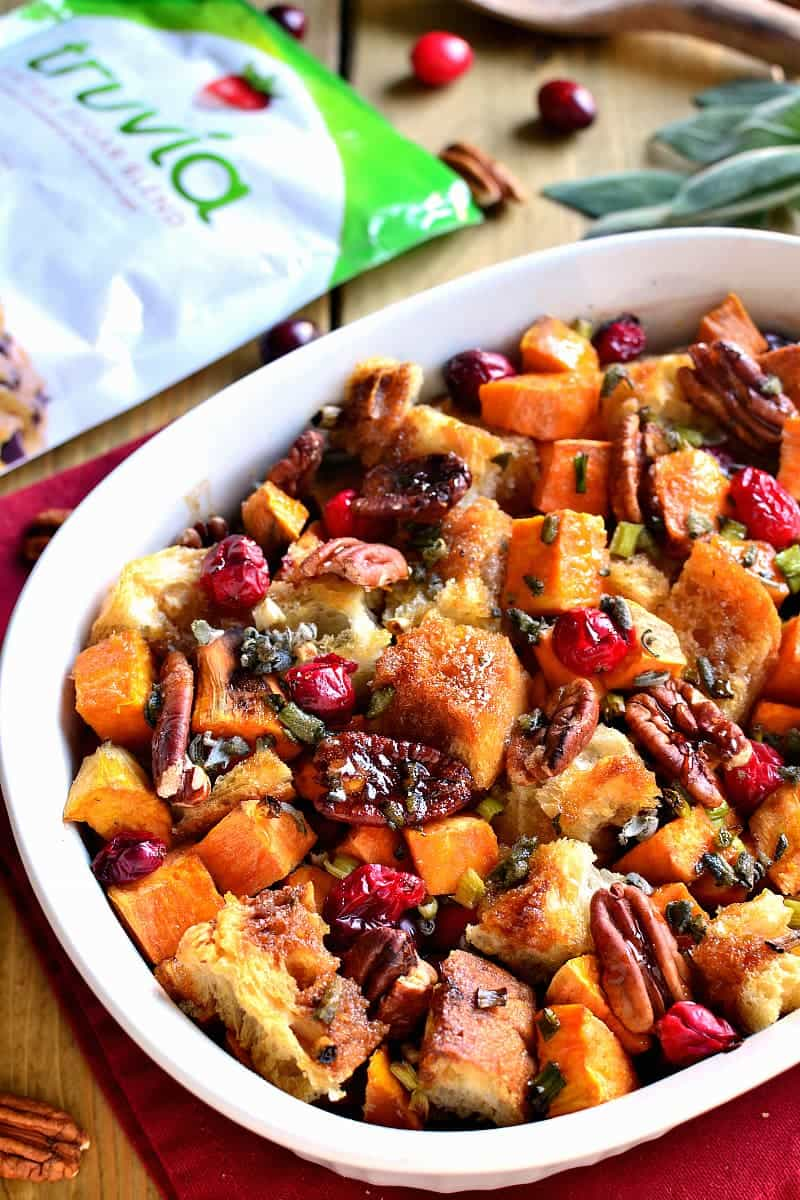 A whole new take on stuffing! This Sweet Potato Cranberry Pecan Stuffing is a little bit sweet, a little bit savory, and the perfect addition to your Thanksgiving or Christmas table!