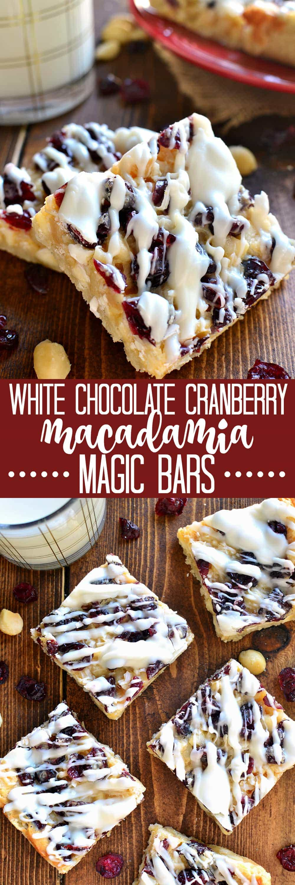 Take your Christmas treats to the next level with these White Chocolate Cranberry Macadamia Magic Bars! Made with just 6 simple ingredients and perfect for the holidays!