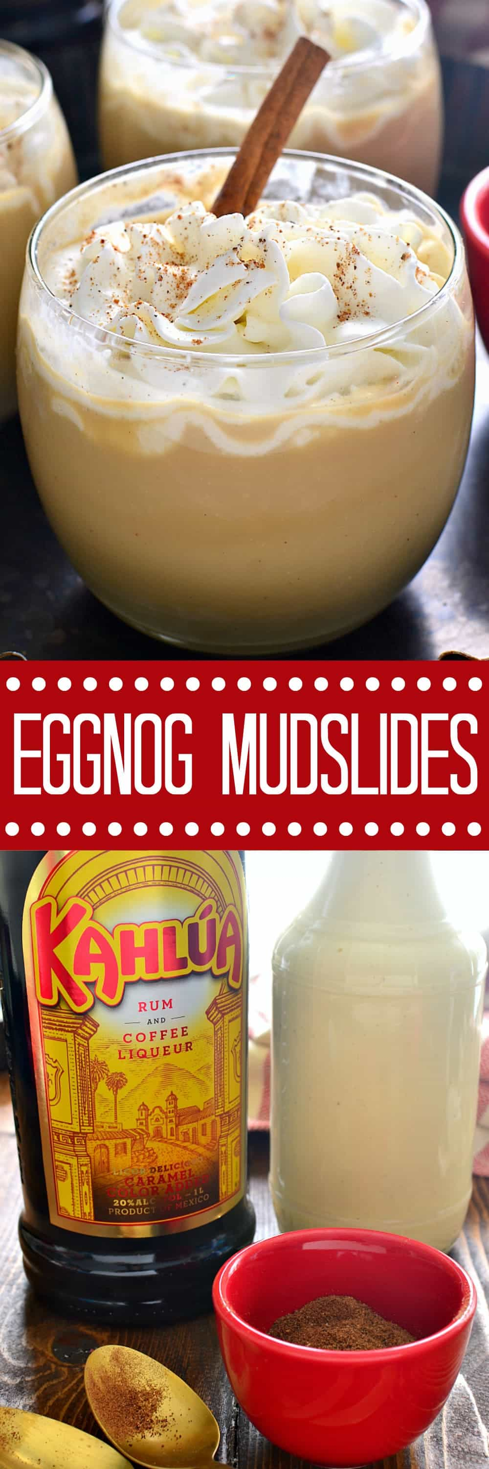Eggnog Mudslides are a delicious holiday twist on a classic cocktail! The perfect addition to all your holiday celebrations!