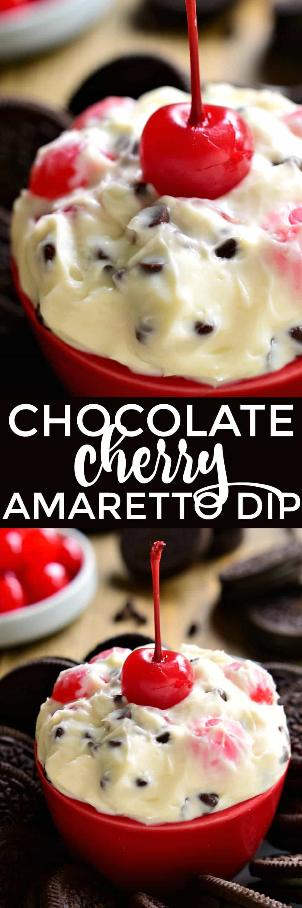 This Chocolate Cherry Amaretto Dip is sweet, creamy, and SO delicious! This 5 minute, 5 ingredient dip will disappear fast! Perfect for Valentine's Day....or just because!
