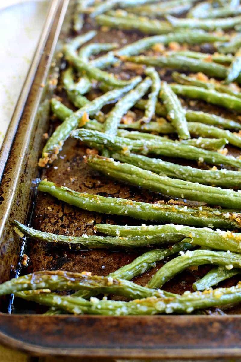 Parmesan Green Beans on baking pan
