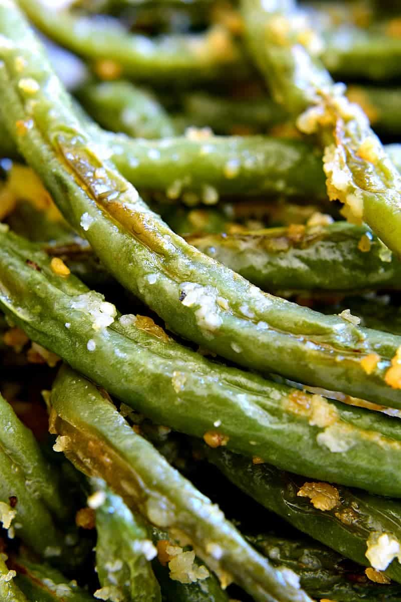 Close-up of Parmesan Roasted Green Beans